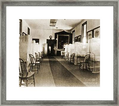 First Aid Hospital Exhibit, 1876 Framed Print by Science Source