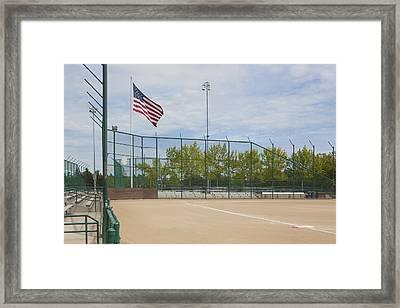 First Base Line On A Baseball Pitch Framed Print