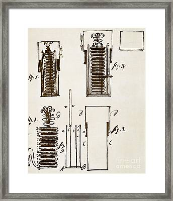 First Electric Battery Framed Print by Science Source