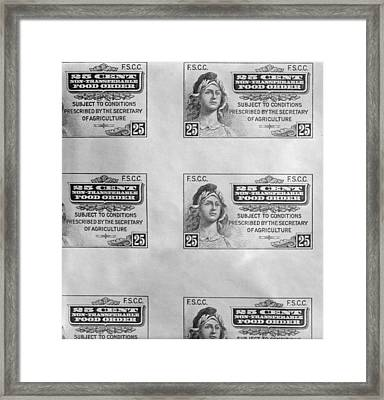 First Food Stamp Was Introduced Framed Print by Everett