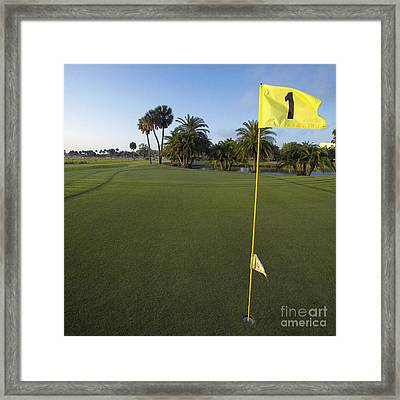 First Hole On A Golf Course Framed Print by Skip Nall