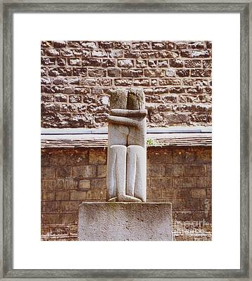 Framed Print featuring the photograph First Kiss In The City Of Love by Ann Johndro-Collins