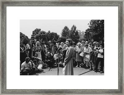 First Lady Betty Ford Holds An Framed Print by Everett