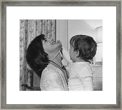 First Lady Jacqueline Kennedy Laughs Framed Print