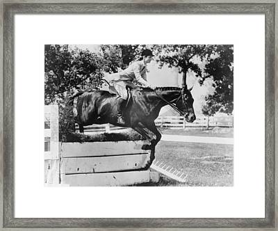 First Lady Jacqueline Kennedy, Riding Framed Print