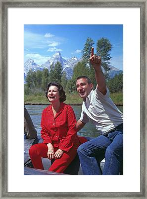 First Lady, Lady Bird Johnson, Rafting Framed Print