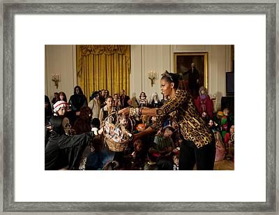 First Lady Michelle Obama Hands Framed Print by Everett