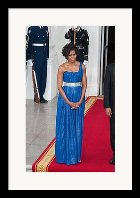 Obamas Greet Mexican Counterparts As They Arrive For State Dinner Framed Prints