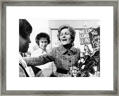First Lady Pat Nixon Visiting Detroit Framed Print by Everett