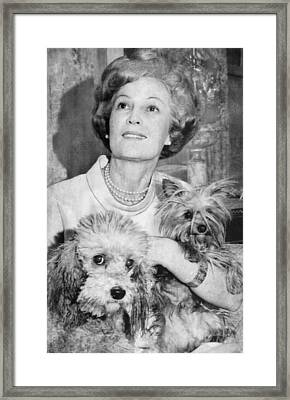 First Lady Patricia Nixon With Pet Framed Print by Everett