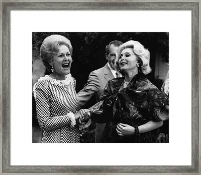 First Lady Patricia Nixon With Zsa Zsa Framed Print by Everett