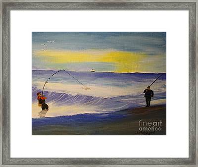 First Light First Wave First Fish Framed Print