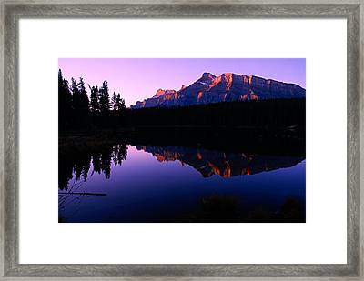First Light On Mount Rundle Framed Print by Larry Ricker