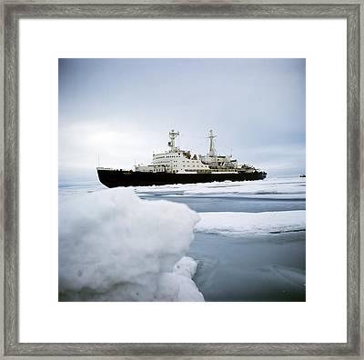 First Nuclear-powered Ship, Ns Lenin Framed Print by Ria Novosti