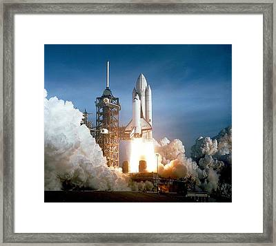 First Space Shuttle Launch On April 12 Framed Print