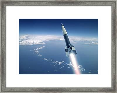 First V-2 Rocket Launch, Artwork Framed Print