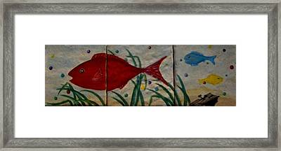 Fish In A Sea Of Colored Bubbles Framed Print by Sandra Maddox