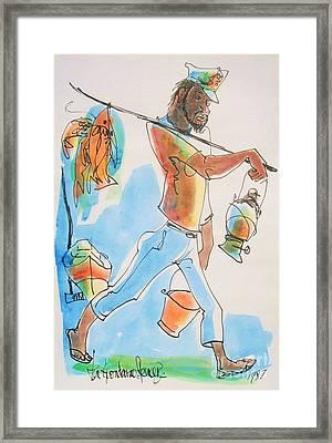 Fish Man Framed Print by Carey Chen