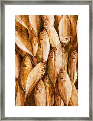 Fish Pattern On Wood Framed Print by Setsiri Silapasuwanchai