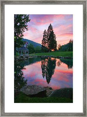 Fish Pond At Sunset I Framed Print by Steven Ainsworth