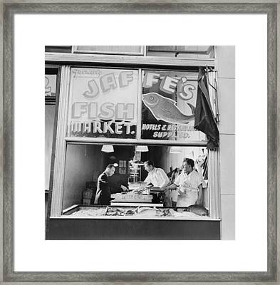 Fish Store In The Lower East Side Framed Print by Everett