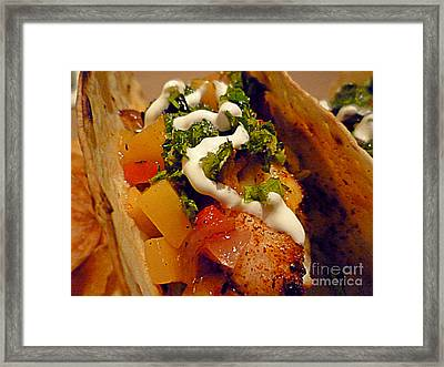 Fish Taco With Mango Salsa Framed Print by Renee Trenholm