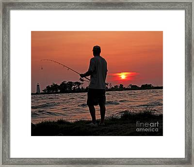 Framed Print featuring the photograph Fisherman And Lighthouse Sunset by Luana K Perez