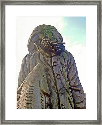 Fisherman And Sturgeon Carving Framed Print