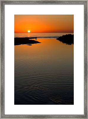 Fisherman At Sunset On Lake Michigan Framed Print by Twenty Two North Photography