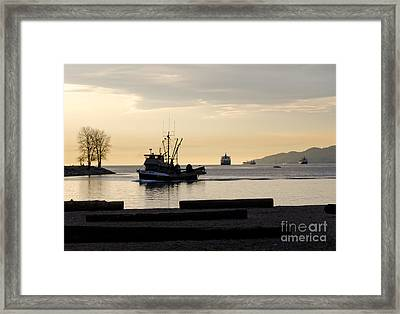 Fisherman Home Returning To Port From The Inside Passage Vancouver Bc Canada Framed Print by Andy Smy