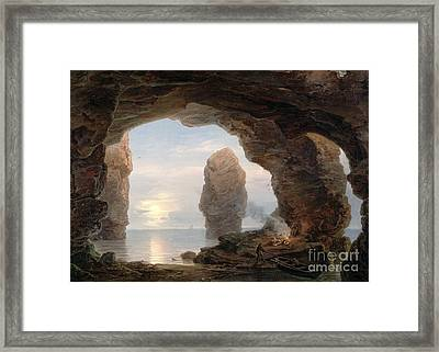 Fisherman In A Grotto Helgoland Framed Print by Christian Ernst Bernhard Morgenstern