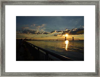 Framed Print featuring the photograph Fisherman Jamaica Bay by Maureen E Ritter