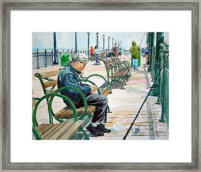 Framed Print featuring the painting Fisherman San Francisco by Tom Riggs
