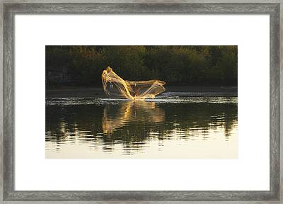 Fisherman Throwing His Net Framed Print by Anne Mott