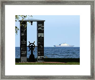 Framed Print featuring the photograph Fishermans' Memorial At Red Arrow Park And Lcs3 Uss Fort Worth by Mark J Seefeldt