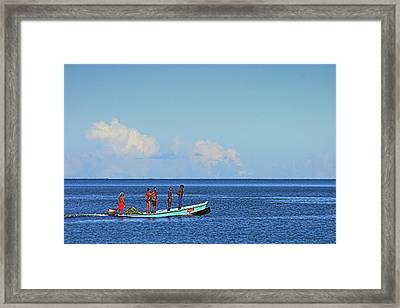 Framed Print featuring the photograph Fishermen And Canoe- St Lucia by Chester Williams