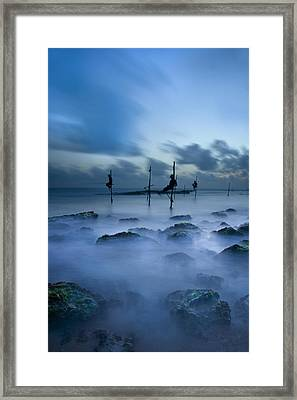 Fishermen At Blue Hour Framed Print by Ng Hock How