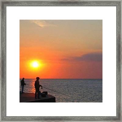 Fishermen At Sunset Framed Print