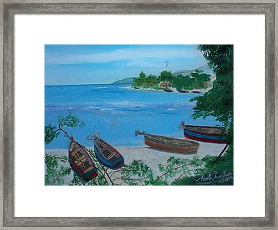 Fishermen Boats By The Sea Framed Print by Nicole Jean-Louis