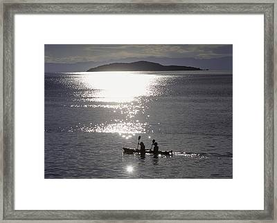 Fishermen Going Past The Island Of Framed Print by Axiom Photographic