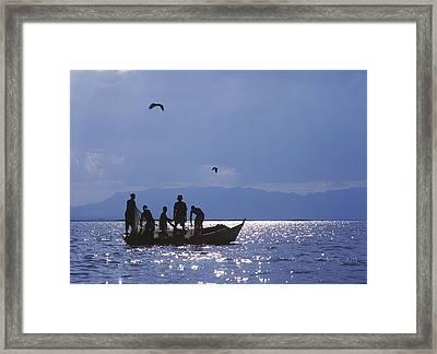 Fishermen Pulling Fishing Nets On Small Framed Print