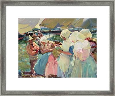 Fisherwomen On The Beach Framed Print