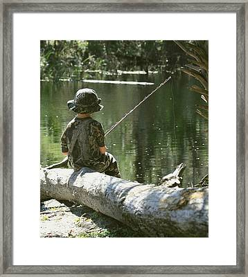 Framed Print featuring the photograph Fishin' And Wishin' by Myrna Bradshaw