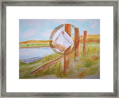 Fishin Bucket On Bobwire Fence Framed Print by Belinda Lawson
