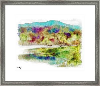 Fishing - Watson Lake Framed Print by Arne Hansen