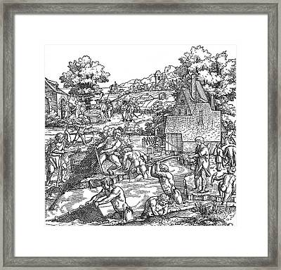Fishing, 16th Century Framed Print by Photo Researchers