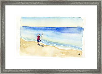 Fishing Alone Framed Print by Catherine Twomey
