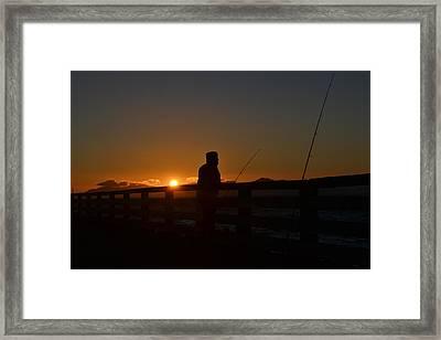 Fishing And Sunset  Framed Print by Saifon Anaya