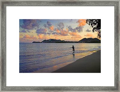 Framed Print featuring the photograph Fishing At Dawn- St Lucia by Chester Williams