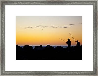 Framed Print featuring the photograph Fishing At Sunset by Serene Maisey